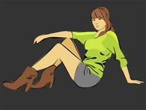 Mulher de assento Ilustração Royalty Free