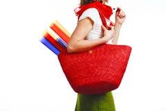 Mulher de Atristic com saco Fotos de Stock Royalty Free
