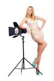 Mulher de Attrative no estúdio Foto de Stock Royalty Free
