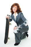Mulher de Bussiness com patim fotos de stock royalty free