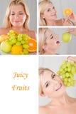 Mulher de Collage.beautiful com muitas frutas frescas Foto de Stock Royalty Free