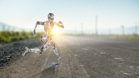 Mulher de corrida de prata do Cyborg Meios mistos imagens de stock