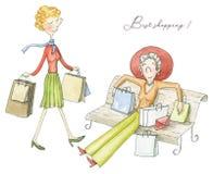 Mulher de duas aquarelas com pacotes após a compra ilustração royalty free