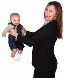 Mulher de funcionamento com bebê Fotografia de Stock Royalty Free