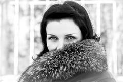 Mulher de Fur.Beautiful no inverno. Modelo de forma Girl da beleza em uma pele Fotografia de Stock