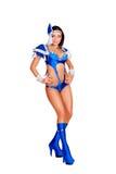 Mulher de Glamor no traje azul do estágio Foto de Stock