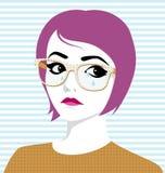 Mulher de grito com vidros e rasgos em sua cara ilustração royalty free