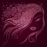 Mulher de Grunge com flores Fotos de Stock Royalty Free
