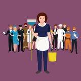 Mulher de limpeza do homemaker da menina da dona de casa Ilustração do vetor da equipe da profissão dos povos Foto de Stock Royalty Free