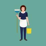 Mulher de limpeza do homemaker da menina da dona de casa Ilustração do vetor da equipe da profissão dos povos Fotografia de Stock