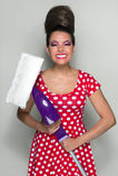 Mulher de limpeza retro fotografia de stock royalty free