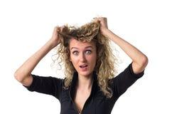 A mulher de negócio é forçada Fotografia de Stock