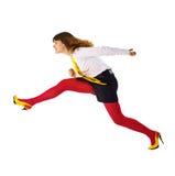 A mulher de negócio acelera em algum lugar o aceleramento acima fotografia de stock royalty free