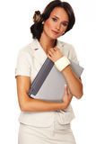 Mulher de negócio agradável no fundo branco Imagens de Stock
