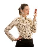 Mulher de negócio amigável com um telefone Imagens de Stock Royalty Free