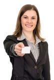 Mulher de negócio amigável. Isolado no branco. Imagens de Stock