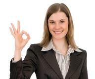 Mulher de negócio amigável. Isolado no branco. Fotografia de Stock