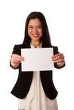 Mulher de negócio asiática bonita que aponta no espaço da cópia - vendas Fotos de Stock Royalty Free