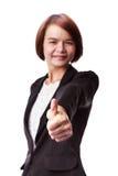 Mulher de negócio asiática que mostra os polegares acima Imagem de Stock