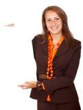 Mulher de negócio - a bandeira adiciona Fotos de Stock Royalty Free