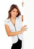Mulher de negócio - a bandeira adiciona Imagem de Stock Royalty Free