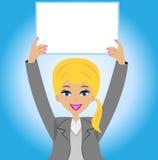 Mulher de negócio bem sucedida com uma tabela limpa nas mãos ilustração do vetor