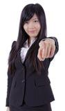Mulher de negócio bem sucedida que aponta em você e no sorriso imagens de stock royalty free