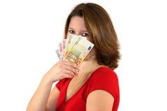 Mulher de negócio bonita com euro- contas Fotos de Stock Royalty Free