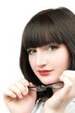 Mulher de negócio bonita com vidros Imagens de Stock