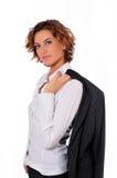Mulher de negócio bonita no fundo branco Imagens de Stock Royalty Free