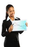 Mulher de negócio bonita nova que mostra o grouth imagens de stock