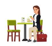 Mulher de negócio bonita que senta-se dentro ilustração stock