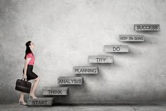 Mulher de negócio caucasiano que olha acima pronta para escalar a escadaria do sucesso foto de stock royalty free