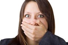 A mulher de negócio cobre sua face com sua mão imagens de stock royalty free