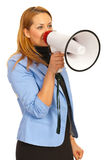 Mulher de negócio com altifalante Fotos de Stock Royalty Free