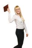 Mulher de negócio com caderno Fotografia de Stock Royalty Free