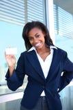 Mulher de negócio com cartão Fotos de Stock