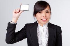 Mulher de negócio com cartão de nome foto de stock royalty free