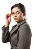 Mulher de negócio com close up dos vidros Fotos de Stock Royalty Free
