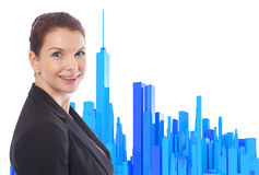 A mulher de negócio com 3d rendeu a skyline azul isolada Foto de Stock