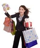 Mulher de negócio com dinheiro, caixa de presente e saco. Imagem de Stock Royalty Free