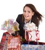Mulher de negócio com dinheiro, caixa de presente e saco. Foto de Stock Royalty Free