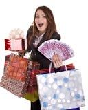 Mulher de negócio com dinheiro, caixa de presente e saco. Imagens de Stock Royalty Free