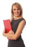 Mulher de negócio com dobrador vermelho Foto de Stock Royalty Free