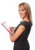 Mulher de negócio com dobrador vermelho Imagem de Stock Royalty Free
