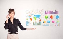 Mulher de negócio com gráficos e cartas coloridos Imagens de Stock Royalty Free