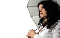 Mulher de negócio com guarda-chuva Fotografia de Stock