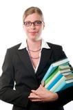 Mulher de negócio com livros foto de stock royalty free