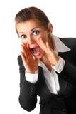 Mulher de negócio com mãos dadas forma megaphon Fotos de Stock Royalty Free
