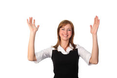 Mulher de negócio com mãos no ar Fotografia de Stock